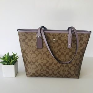 Coach City Zip Tote Signature Canvas Khaki Lilac
